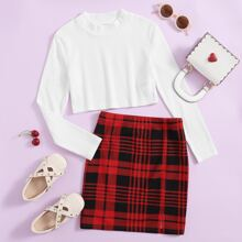 Girls Rib-knit Crop Top & Plaid Skirt Set