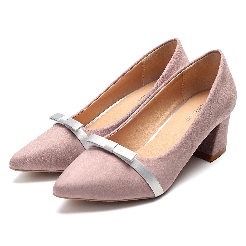 Elegant Suede Point Toe Chunk Heel Pumps