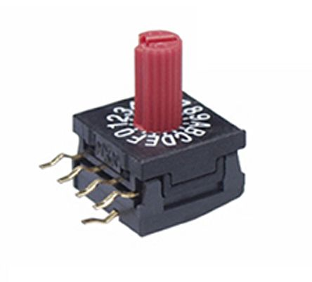 NKK Switches , 16 Position, Hexadecimal Rotary Switch, 100 mA, Solder (5)