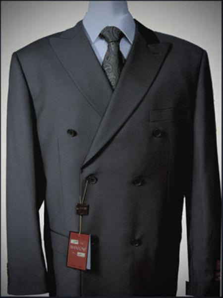 Dark Grey Double breasted peak lapel wool front no pleated pants suit