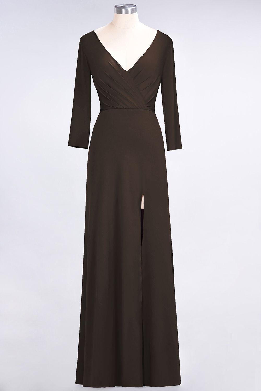 BMbridal Popular Spandex Long-Sleeves Burgundy Bridesmaid Dresses with Side-Slit