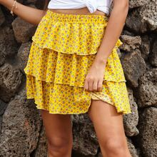 Ditsy Floral Tiered Layer Mini Skirt