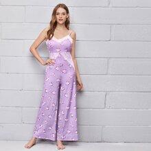 Cami Jumpsuit mit Spitzen und Blumen Muster