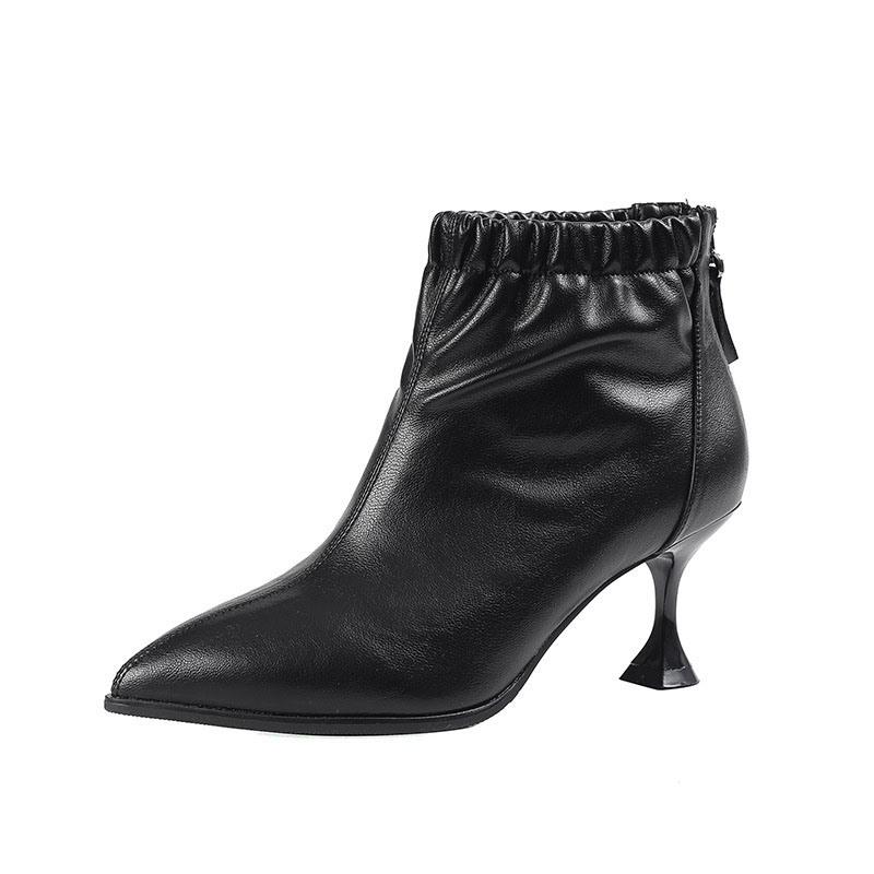 Ericdress Stiletto Heel Plain Pointed Toe PU Fashion Boots