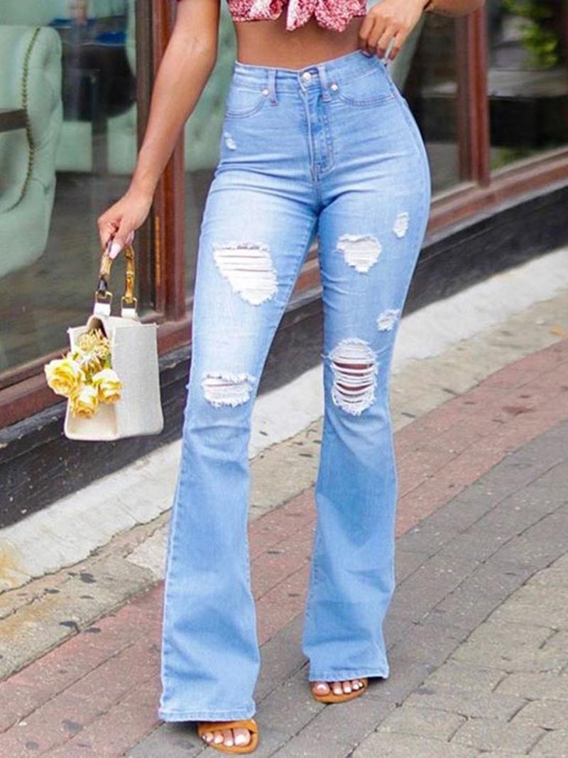 Ericdress Bellbottoms Hole High Waist Slim Jeans