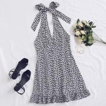 Ditsy Floral Print Ruffle Hem Knotted Halter Dress