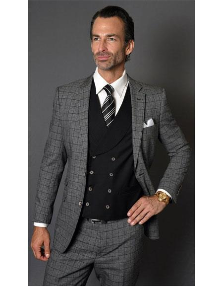 Mens Checked Pattern Two Button Single Breasted Charcoal Suit