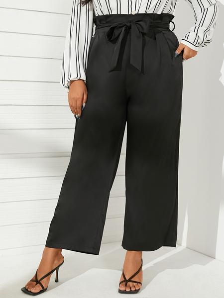 YOINS Plus Size Belt Design Tie-up Design Pants