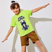 Boys Neon Lime Graphic Tee & Shorts Set