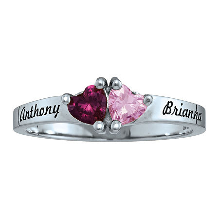 Personalized Simulated Birthstones Sweetheart Couples Ring, 6 , White