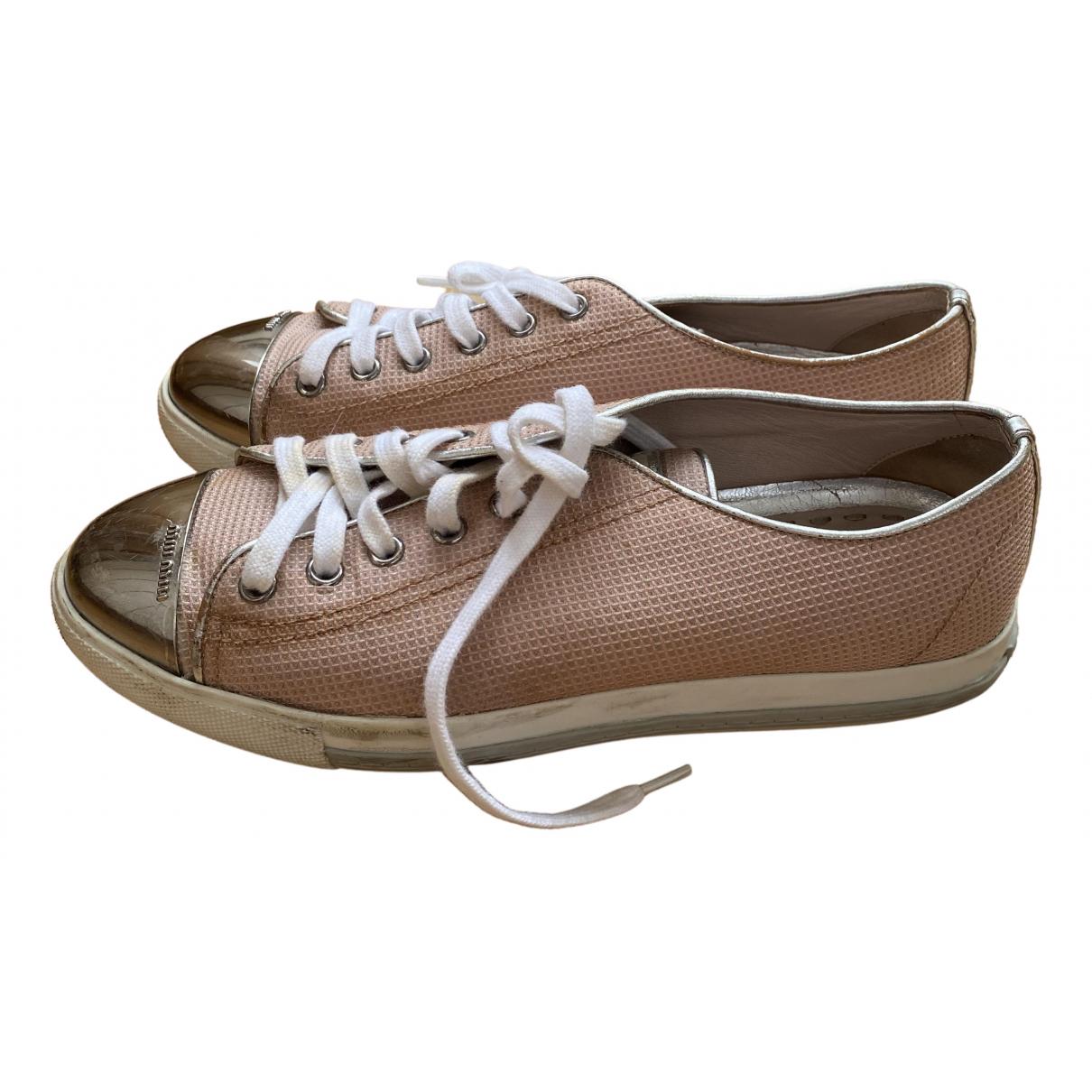 Miu Miu \N Sneakers in  Rosa Leinen
