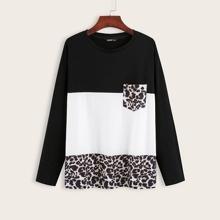 T-Shirt mit Farbblock und Leopard Muster Einsatz