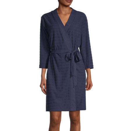 Liz Claiborne Textured Womens Robe Long Sleeve Knee Length, Large , Blue