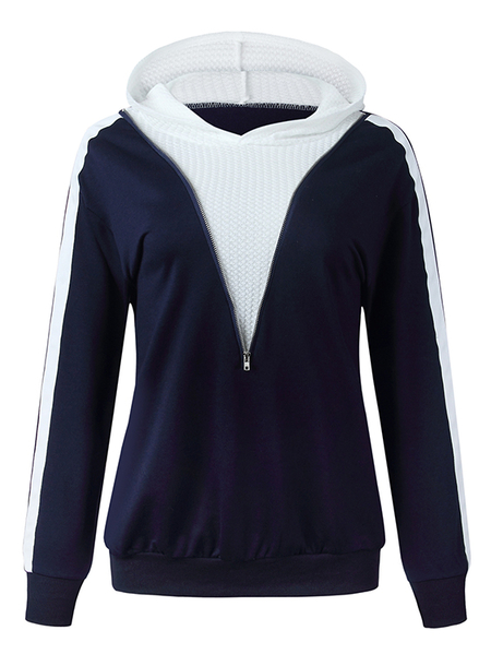 Yoins Navy Zip Front Patchwork Long Sleeves Hoodie
