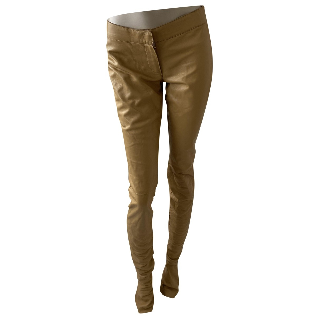 Dolce & Gabbana \N Camel Leather Trousers for Women 38 IT