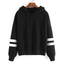 Varsity Striped Drop Shoulder Hooded Sweatshirt