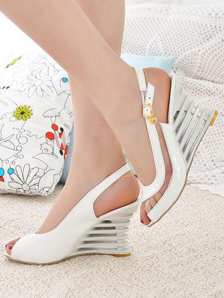 Milanoo Pink Wedge Sandals Peep Toe Buckled Slingbacks Wedges Platform Sandals For Women