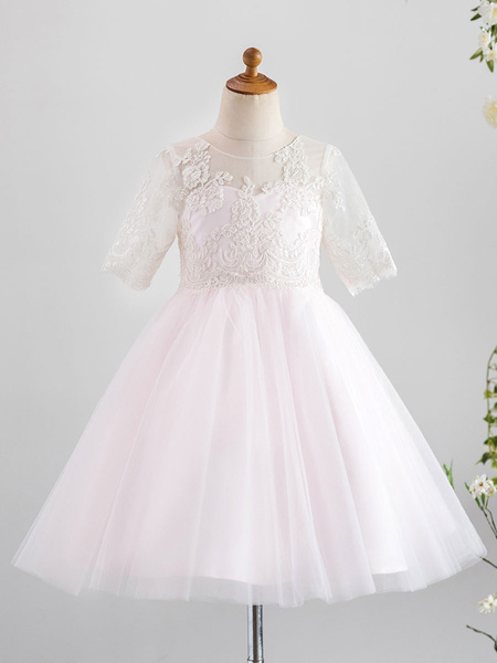 Milanoo Vestidos de niña de flores Cuello joya Tul Mangas cortas Hasta la rodilla Princesa Silueta Botones Vestidos de fiesta para niños