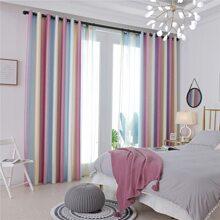 1pc Color Block Blackout Curtain