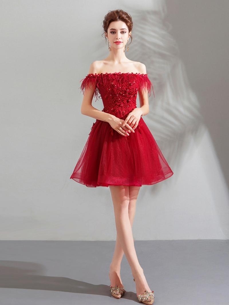 Ericdress A-Line Half Sleeves Off-The-Shoulder Short Cocktail Dress