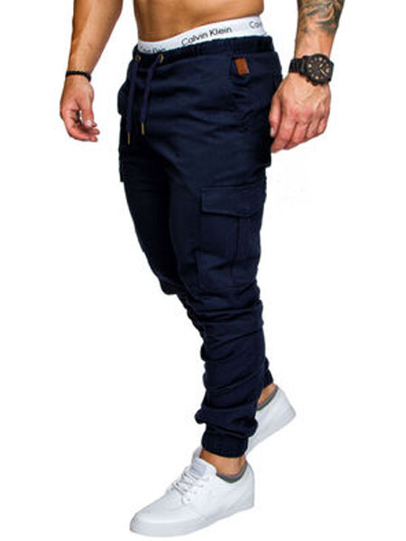 Milanoo Men Cargo Pant Pocket Drawstring Tapered Jogger