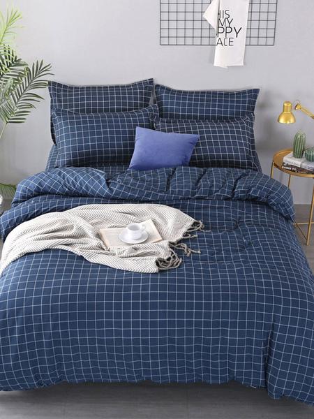 Milanoo Bedding Set Grace 3-Piece Polyester Fiber Navy Blue Bedding Supplies