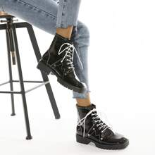 Studded Decor Lace-up Front Combat Boots