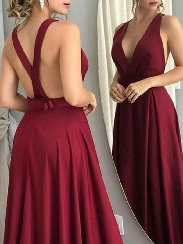 Pleats Sleeveless Floor-Length V-Neck Evening Dress