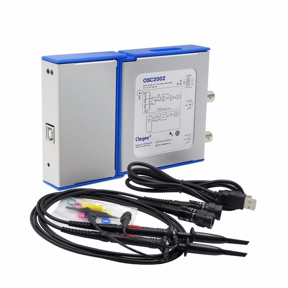OSC2002 PC Virtual Digital Handheld Oscilloscope 2 Channel Bandwidth 50Mhz Sampling Data 1G with Probe USB cable