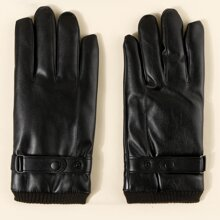 Men Magnet Button Decor Gloves