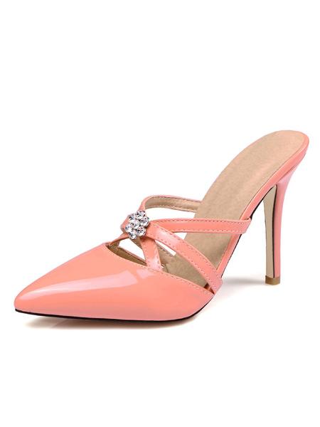 Milanoo White Women Mule Shoes Pointed Toe Rhinestones Backless High Heels