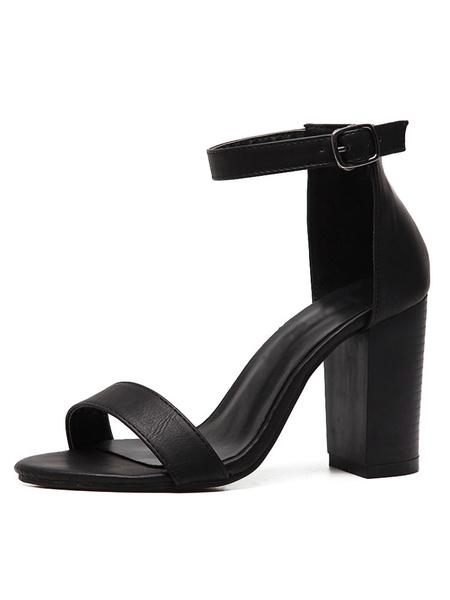 Milanoo Sandalias de tiras para mujer Sandalias con tacon grueso y tira abierta Sandalias de punta abierta en negro