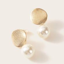 1pair Textured Pearl Drop Earrings