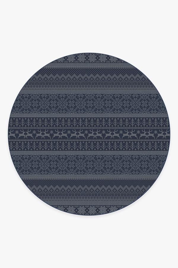 Washable Rug Cover & Pad | Fair Isle Blue Rug | Stain-Resistant | Ruggable | 8 Round