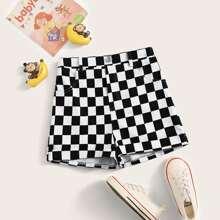 Maedchen Shorts mit Karo Muster und geradem Beinschnitt