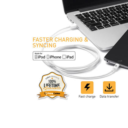 PrimeCables® Apple Certified Lightning Charge & Sync USB Cable for iPhone iPod iPad - 1M+3M