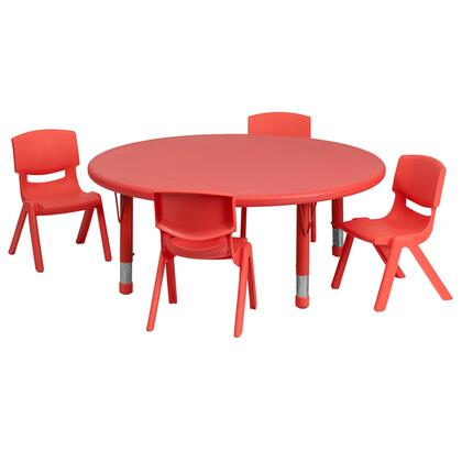 YU-YCX-0053-2-ROUND-TBL-RED-E-GG 5 Piece Activity Table Set with Contoured Polypropylene Shell Chairs  Rounded Edges  Modern Style and Adjustable