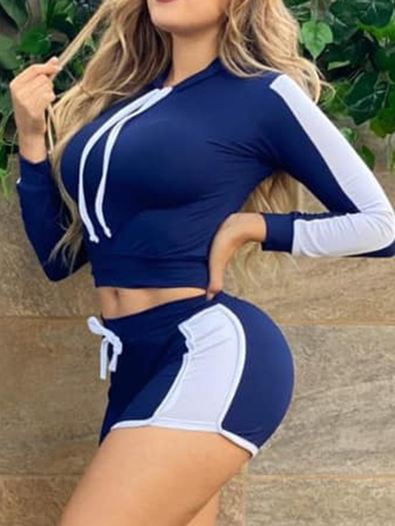 Ericdress Sports Shorts Color Block Straight Pullover Two Piece Sets