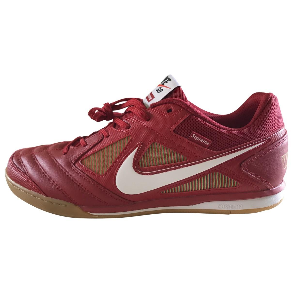 Nike X Supreme - Baskets   pour homme en cuir - rouge