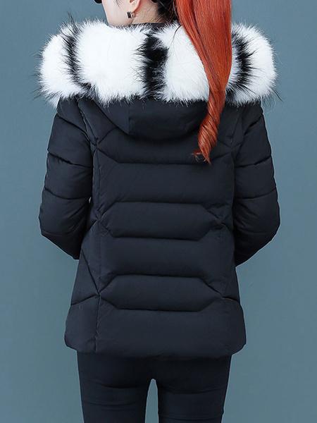 Milanoo Abrigo de invierno de manga larga con cremallera con capucha de piel sintetica corta azul