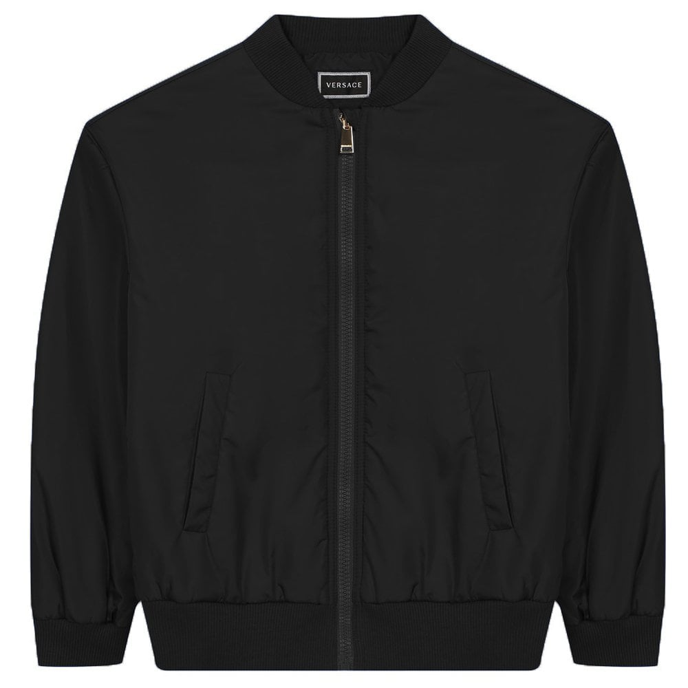 Versace Young Versace Reverse Logo Bomber Jacket Colour: BLACK, Size: 12 YEARS