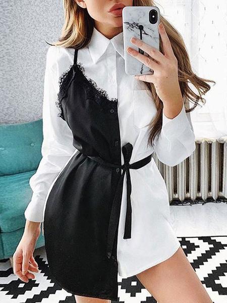 Milanoo Shirt Dresses Lace Long Sleeves Fake Two Piece Style Mini Dress