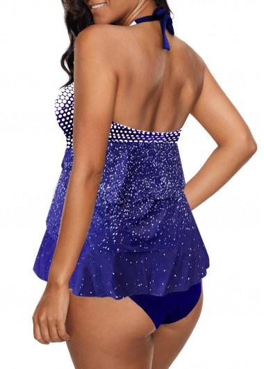 Rosewe Women Navy Blue Halter Neck Tankini Swimsuit Navy Blue Layered Dot Print Halter Tankini Set - M
