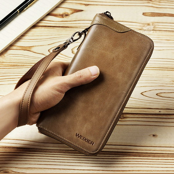 Men Vintage Card Holder Cowhide Phone Bag Long Wallet