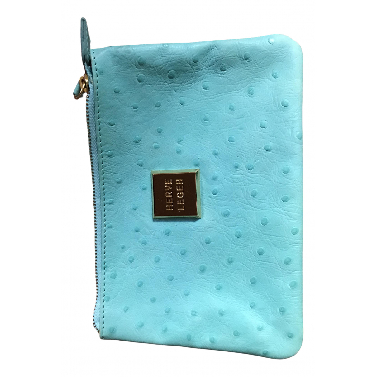 Herve Leger \N Turquoise Ostrich Purses, wallet & cases for Women \N