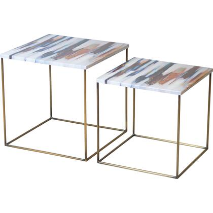 Philo Collection TA406 2 PC Accent Table with Iron Material in Brass Antique and Decal Top