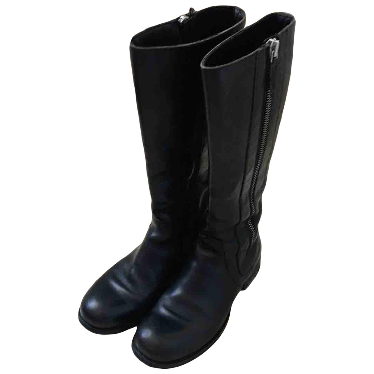 Moma - Bottes   pour femme en cuir - noir