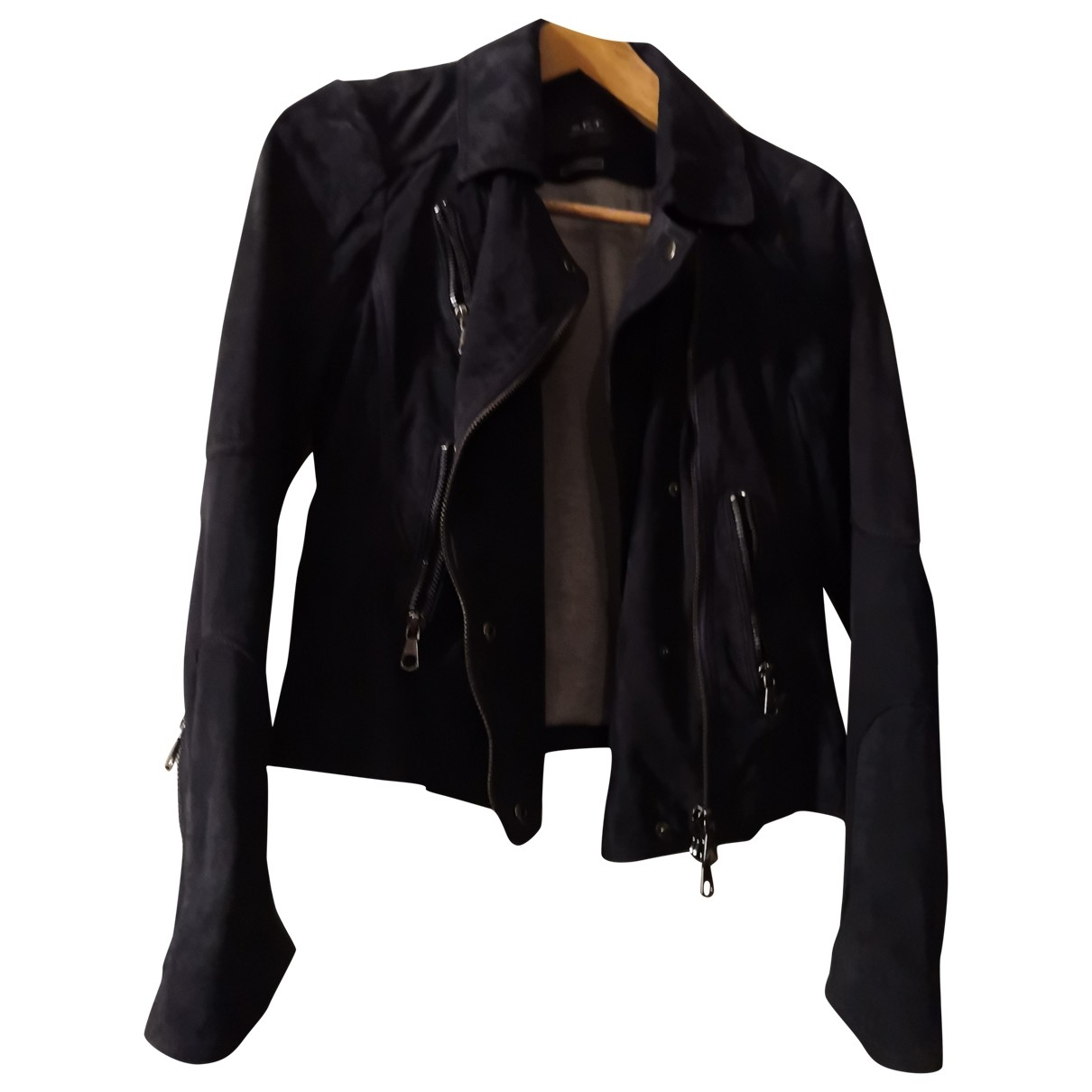 Non Signé / Unsigned \N Blue Leather Leather jacket for Women 42 IT