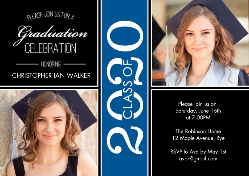 2020 Graduation Invitations 5x7 Cards, Premium Cardstock 120lb with Scalloped Corners, Card & Stationery -Grad Party 2020 Celebration by Tumbalina