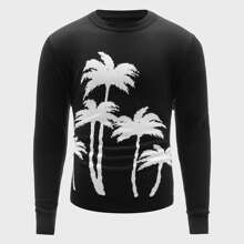 Men Tropical Pattern Crew Neck Sweater